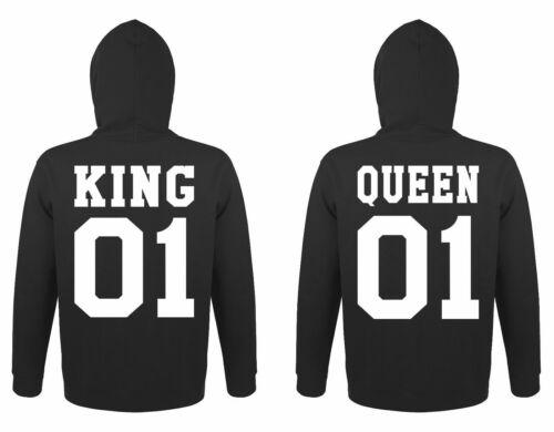 "Partner Hoodies Set /""KING /& QUEEN/"" Pärchen Pullover King Queen mit Wunschzahl"