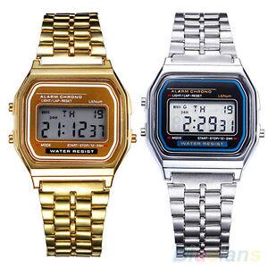 Men-039-s-Women-039-s-Stainless-Steel-LCD-Digital-Sports-Stopwatch-Wrist-Watch-Novelty