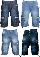 Mens Shorts Crosshatch Designer Denim Cargo Combat Summer Jeans Casual