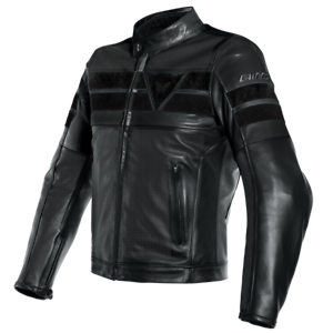 New-Dainese-8-Track-Perforated-Leather-Jacket-Men-039-s-EU-56-Black-153381969156