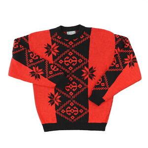 VTG-80s-Le-Tigre-Men-Medium-43-Acrylic-Sweater-Pullover-Nordic-Pattern-Red-Black