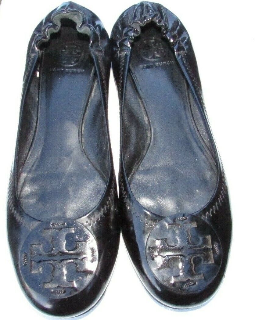 Tory Burch flat shoes size 10.5, 11 black patent leather Spring break DEAL  282