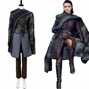 Details About Game Of Thrones Arya Stark Season 8 S8 Outfit Cosplay Costume Dress Suit Coat