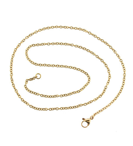 """N576 1 Necklace Gold Stainless Steel Cable Chain Necklace 18/"""" 2mm"""