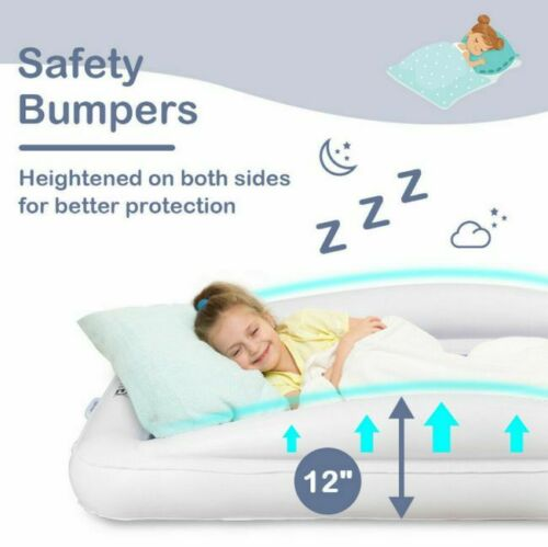 """Safety Bumpers 63/"""" Air Pump Toddler Inflatable Bed Kids Air Mattress Travel"""