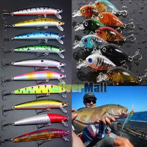 10pcs Fishing Lures Crankbaits Hook Minnow Baits Tackle Crank Fishing USA Seller