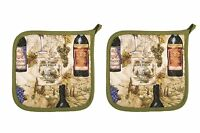 NEW Now Designs Basic Potholders Wine Labels Set of 2 on Sale