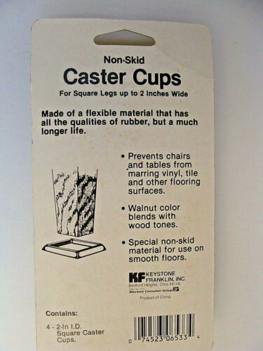 New Pack of 4 Non-Skid Caster Cups Choice Square or Round Flexible Walnut