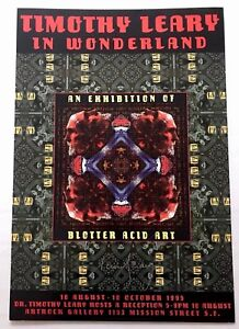 Vintage-1995-SIGNED-Timothy-Leary-In-Wonderland-Blotter-Art-Exhibition-Poster