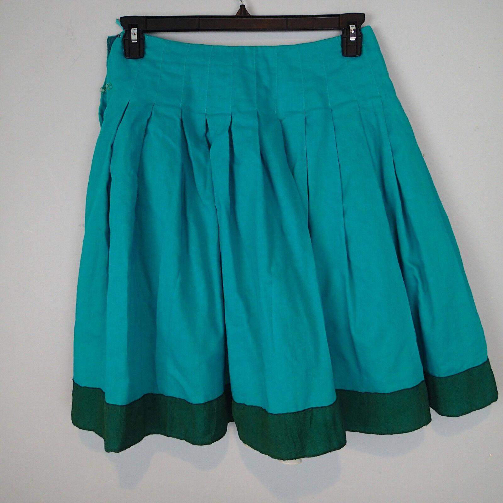 PRADA teal green bluee  Knee Length Pleated  Skirt Size  42  OJ