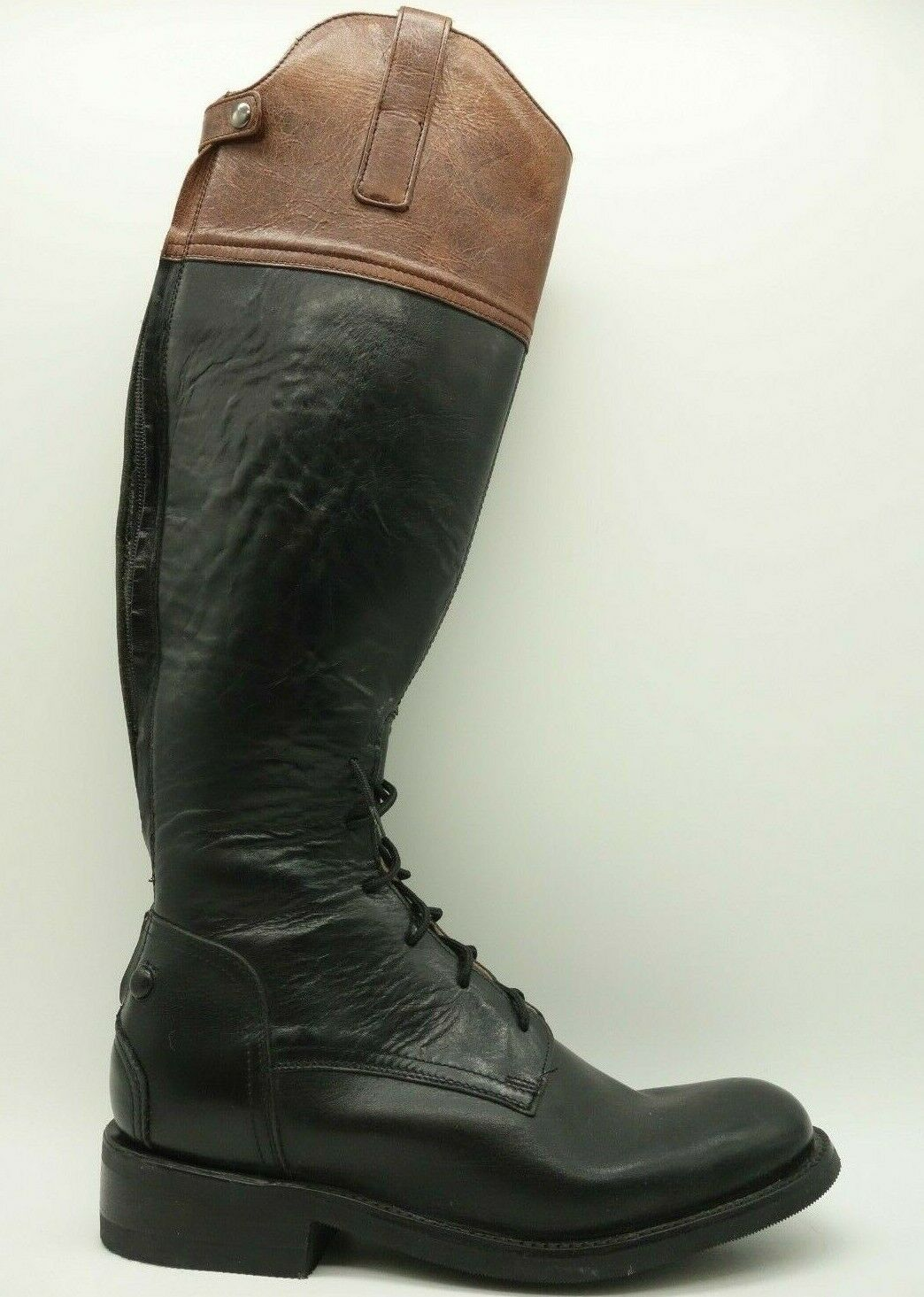 Serna Negro Cuero Con Cordones Alto Cremallera Trasera botas De Montar Para Mujer 7.5 S