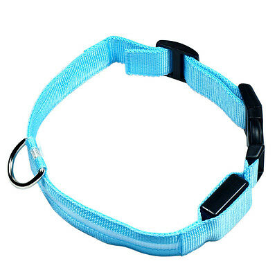 LED Light up Dog Pet Night Safety Collar Bright Flashing Adjustable Nylon Collar