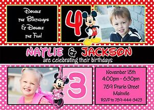 Image Is Loading Mickey And Minnie Twins Siblings Birthday