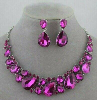 Pink Fushia Rhinestone Necklace Set Silver Fashion Jewelry New