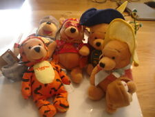 UK/USA DISNEY WINNIE THE POOH BEAN BAG TOYS X 5 NEW   EASTER BONNET, MUSKATEER