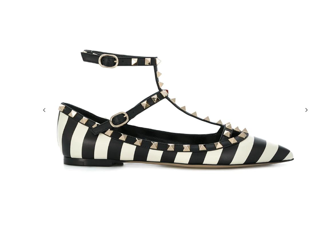 NIB Valentino Rockstud Black Ivory Striped Pointed Toe Ballet Flats Sz 36  995
