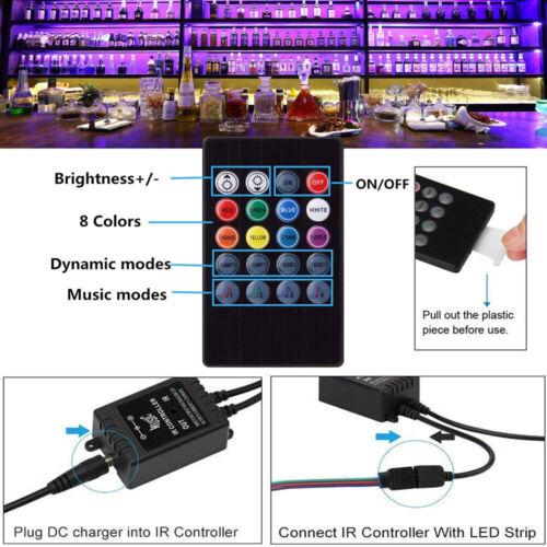 Power 5//10//15M Music RGB LED Strip Lights 3528 SMD Tape Sound Sensor IR Remote