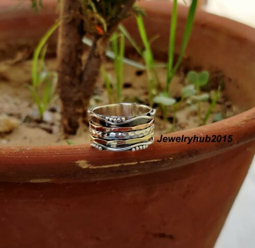 Solid 925 Sterling Silver Handmade Spinner Women Ring All Size sr463