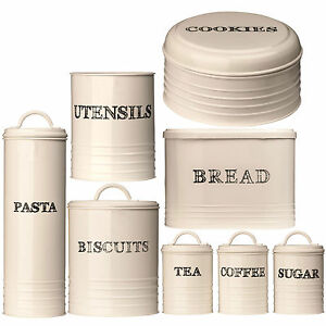 cream kitchen storage jars sketch kitchen home tea coffee sugar biscuit cookie 6283