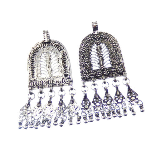 3PCS Antiqued Style Silver Alloy Tassels Shaped Pendant Charms 76*36*3mm 04123