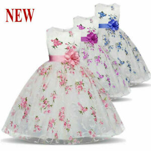 Fleur Fille Princesse Robe De Bebe Enfants Fete D Anniversaire Mariage Formel Tutu Robes Ebay