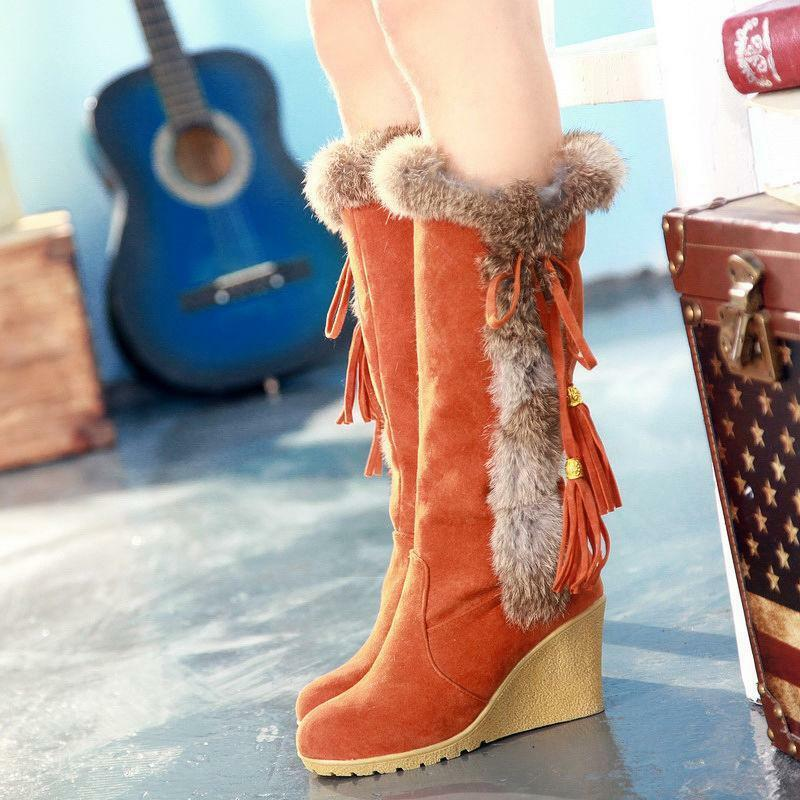 Hot Womens Winter Warm Thick Furry Wedge Heel Knee high Boots Snow Tassels shoes