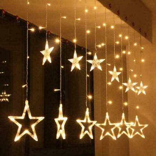 LED Curtain Fairy Star Moon Lights Indoor Birthday Party Wedding Decor Hanging