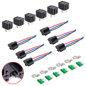 relay 4 pin automotive wire harness 12v dc 40/30 amp 4-pin automotive relay harness set switch ...