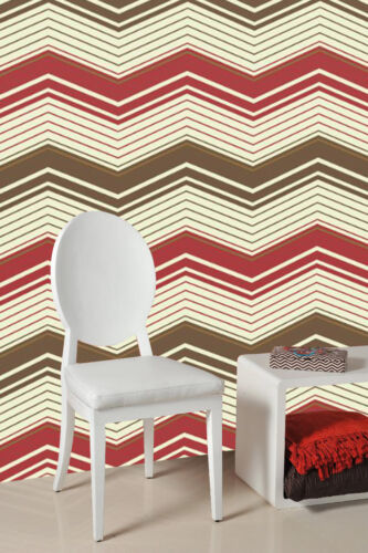 Red Zig Zag Patterned Wallpaper ***£8.99 inc P/&P*** Brown,Gold /& Cream