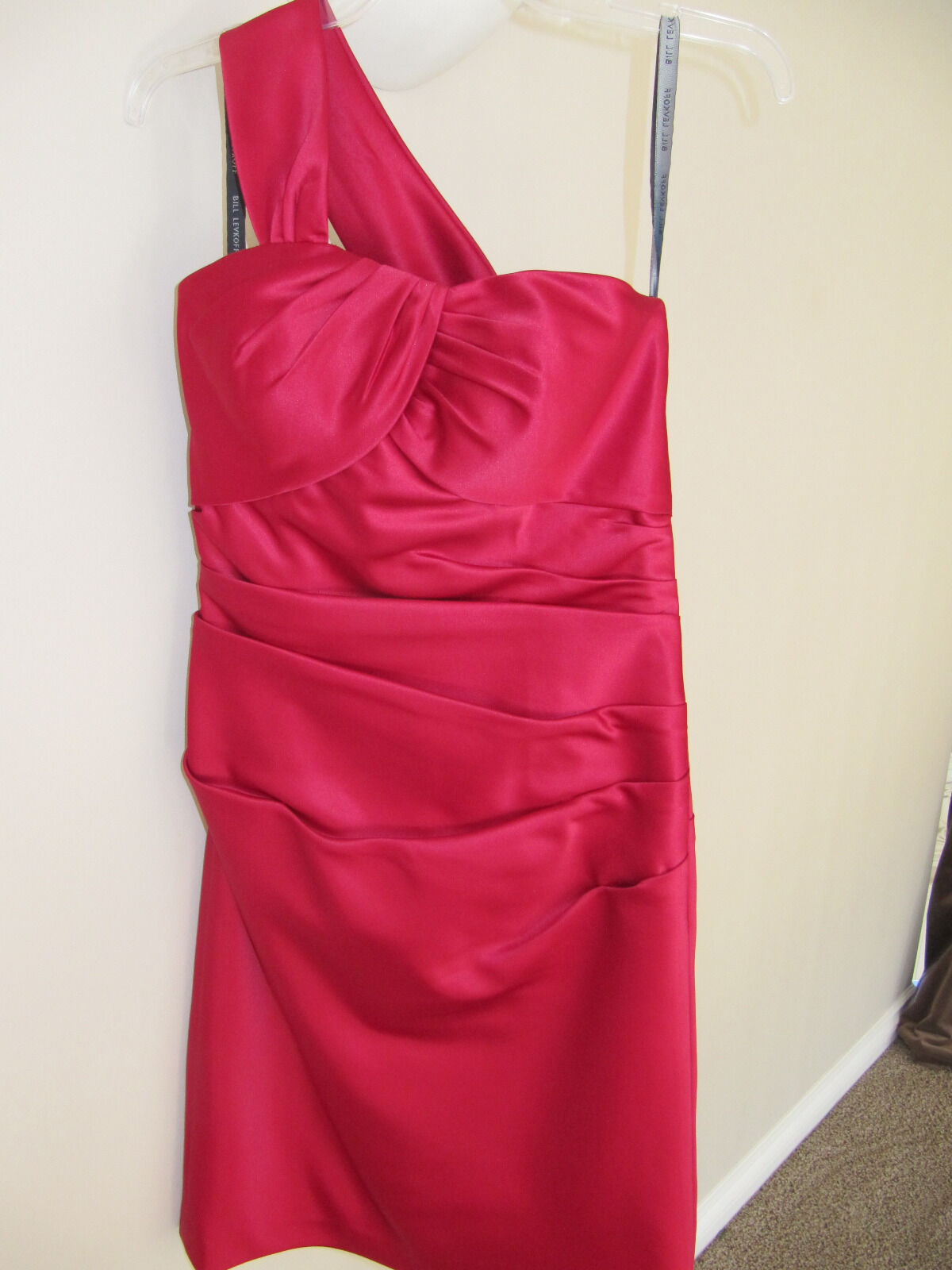 Bill Levkoff  Ruched One Shoulder Red Satin Prom Cruise Evening Dress Size 10