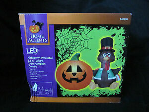 New Turkey Pumpkin Thanksgiving Halloween Airblown Inflatable Led Lighted Set Ebay