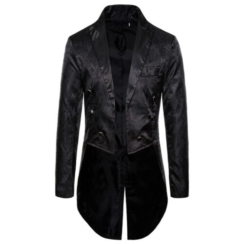 Men Swallow-tailed Coat Tuxedo Banquet Stage Tailcoat Party Overcoat Jacket Suit