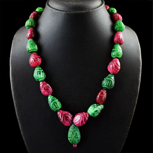 660.00 Cts Earth Mined Ruby /& Emerald Pear Shape Carved Beads Necklace NK 58MF7