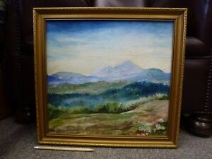 Original-large-vintage-Oil-Painting-Expressionist-Landscape-signed-Faithfull