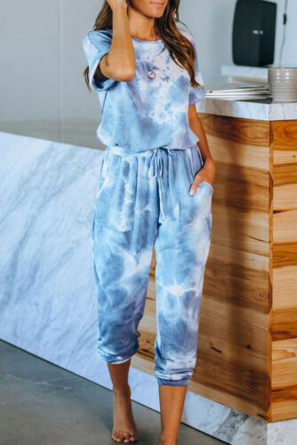 Womens Set Loungewear Tie Dye Ombre 2 pcs Trousers Yoga Tops Ladies Suit UK8-20