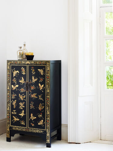 Baumhaus The Nine Schools Oriental Decorated Black Medium Cabinet -Free Delivery