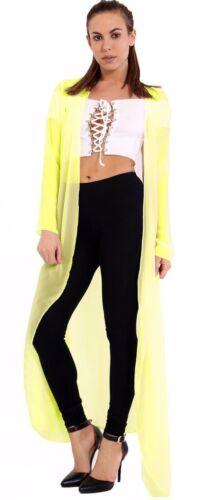 Nouveau Femmes en mousseline de soie long cardigan cascade Maxi Top Plus Taille 8-26