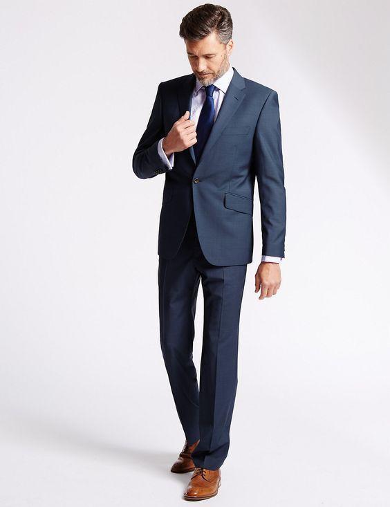 New M&S SAVILE ROW INSPIROT ROTa Blau TailoROT Fit Suit Sz 38 M / 28
