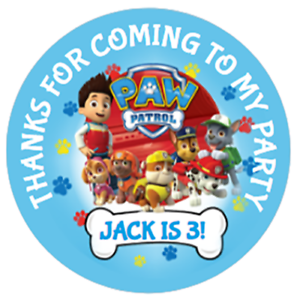 48-Personalised-Party-Bag-Stickers-Paw-Patrol-Sweet-Bag-Seals-40mm-Cone-Labels