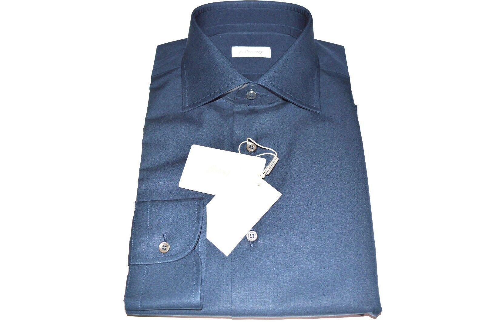 NEW  BRIONI Dress Blau hemd 100% baumwolle Größe 17.75  Us 45 Eu(Cod MA22)