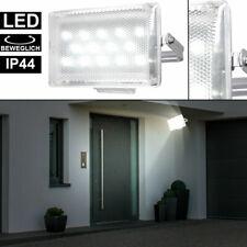LED 9 Watt Wand Leuchte Terrasse Außen Hof Strahler silber Bewegungsmelder IP44