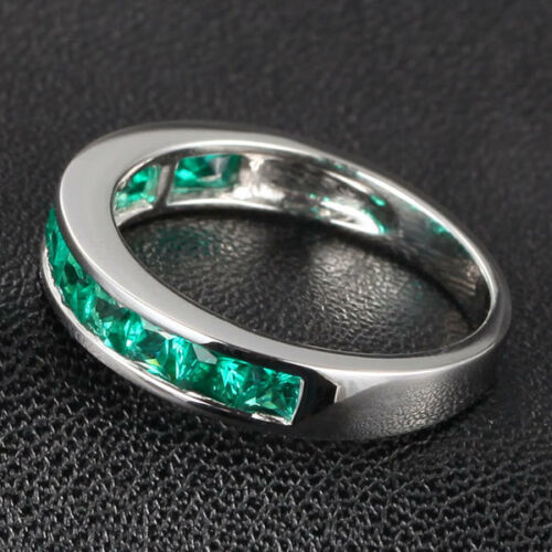 Solid 14K White Gold Princess Cut VS Emerald Channel-Set Wedding Band Ring