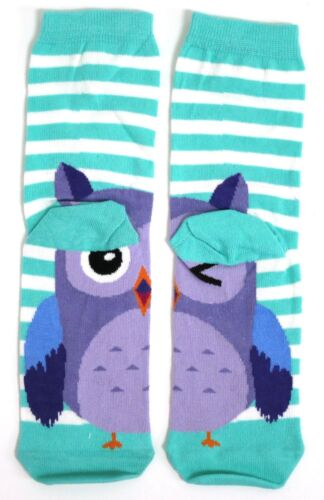 LADIES WHAT A HOOT HALF A WINKING OWL ON EACH FOOT SOCKS