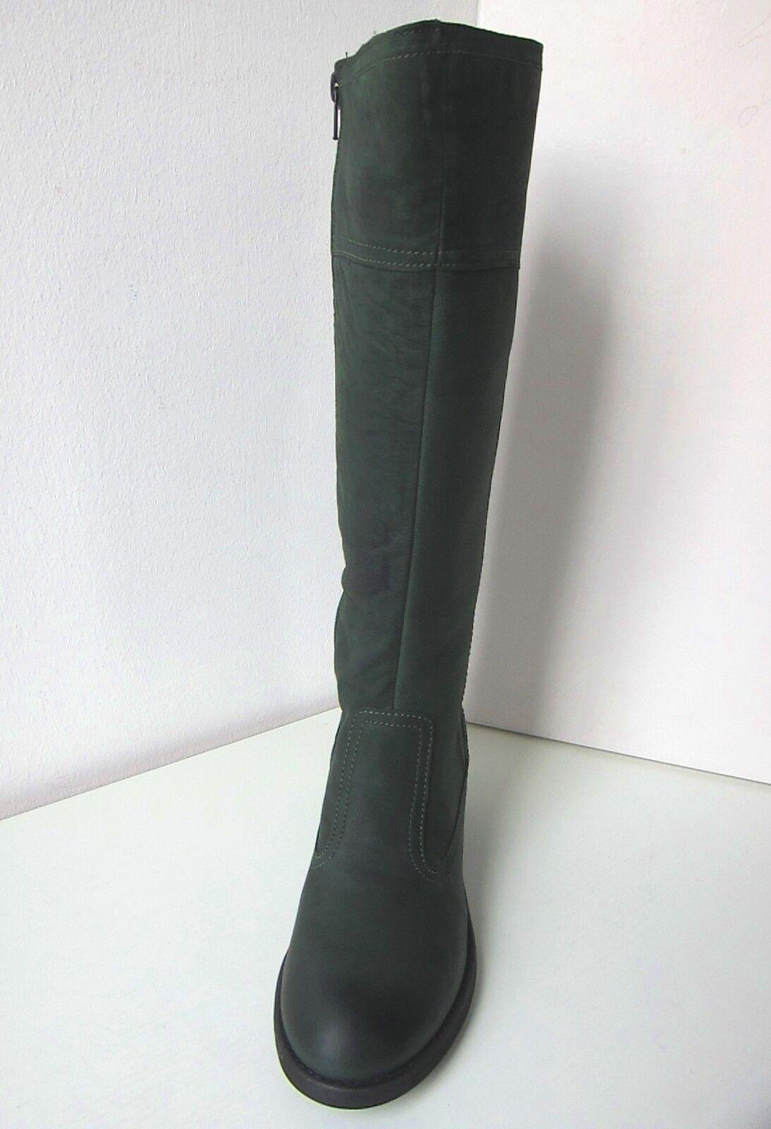 Tamaris Velour Leder Stiefel Weite Weite Weite L green Gr. 37 leather boots bottle dunkelgreen 18ea02