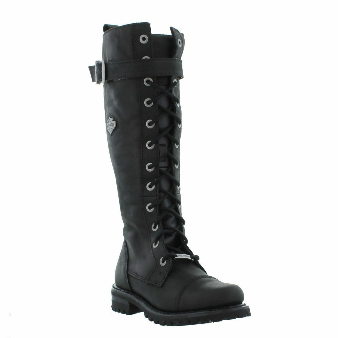 Harley Davidson Savannah Biker Boots Black Leather Lace Up Motorbike Ladies Boot