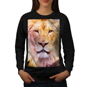 Wellcoda-Lion-Faccia-foto-Animale-Da-Donna-Felpa-Cat-Casual-Pullover-Maglione