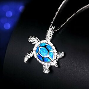 925-Silver-Charm-Blue-Fire-Opal-Gemstone-Turtle-Pendant-Necklaces-Chain-Wedding