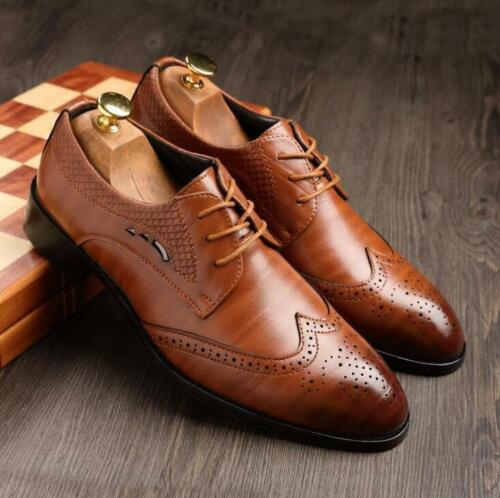 Men/'s Oxfords Casual Leather Shoes Lace Up Dress Business Office Formal Wedding