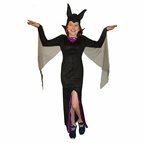 Maleficent Malificent Sorceress Evil Queen Girls Fancy Dress Costume