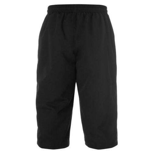 MENS BLACK SLAZENGER 3//4 THREE QUARTER LENGTH TRACKSUIT BOTTOMS PANTS SHORTS